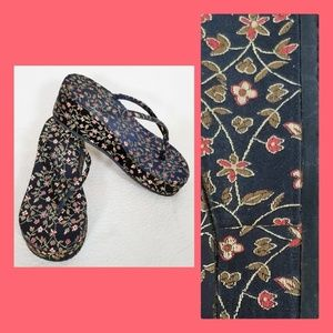 Shoes - Chinese brocade fabric wedges
